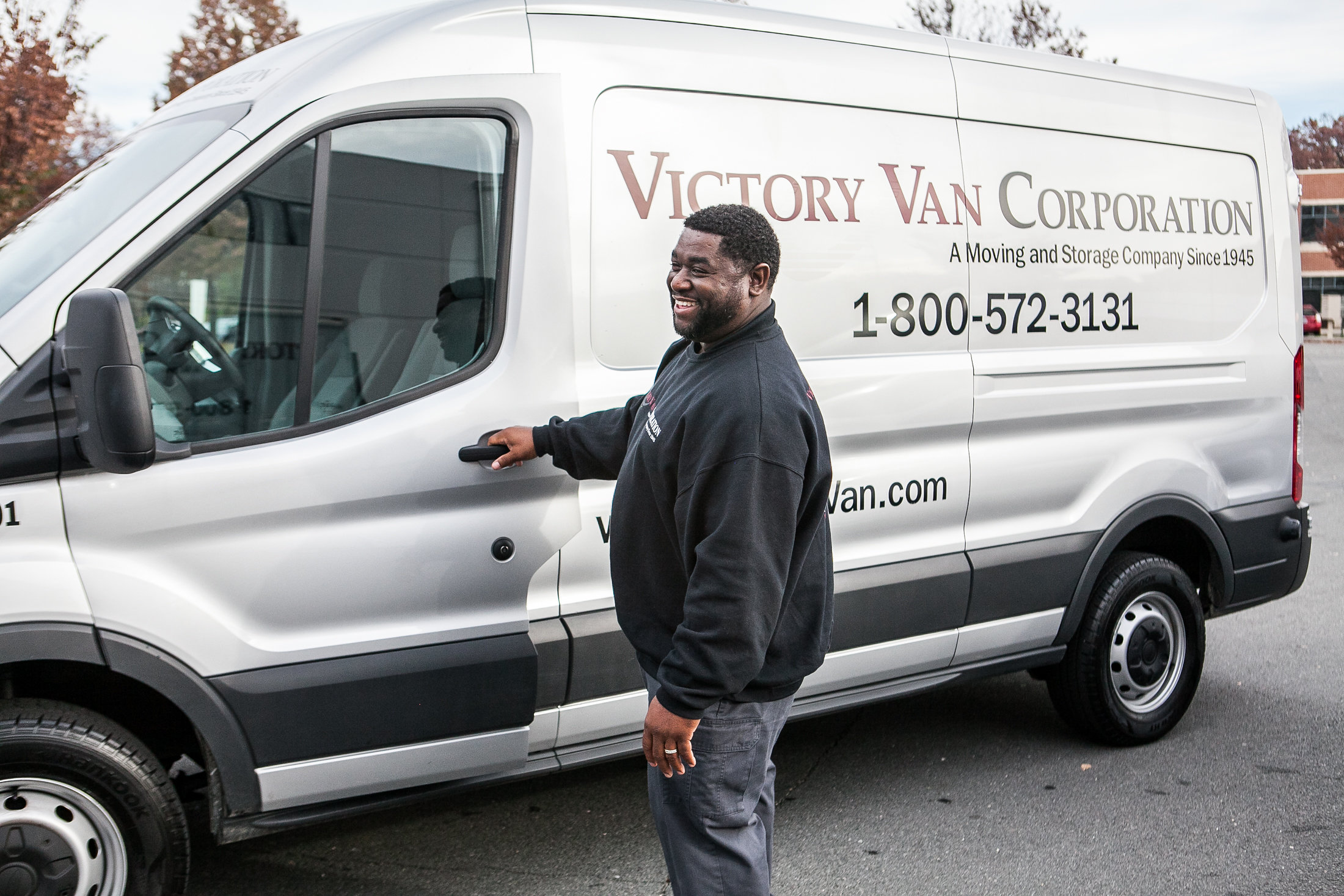 victory van truck and employee
