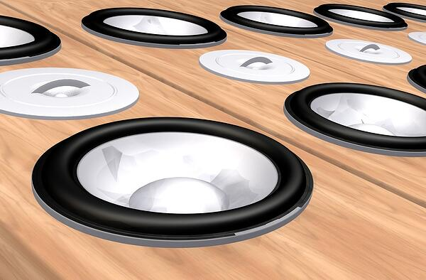 Speakers that can be found in a living room.